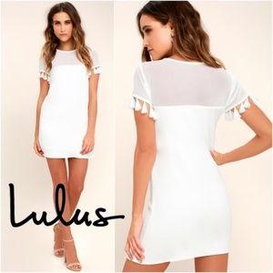 Lulus Iced Latte White Shift Dress Tassels Size M